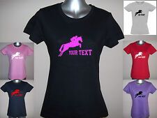 LADIES / GIRLS PERSONALISED SHOW JUMP JUMPING PONY / HORSE T-SHIRT sizes 8 to 18