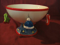 Unique Christmas Pedestal Candy Dish W/ Hanging Ornaments Mittens Scarfs Hats