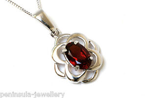 9ct White Gold Garnet Pendant Celtic Necklace and Chain Made in UK Gift Boxed