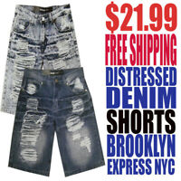 Brooklyn Express NYC Men's NWT Distressed Denim Shorts Free Fast Shipping $21.99