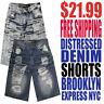 Brooklyn Express NYC Men's NWT Distressed Denim Shorts Free Fast Shipping $21.99