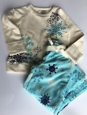 New LANDS' END 3T Girls Fleece Snowflake 2 Pc PJ Pajama Set *NWT* Warm Winter