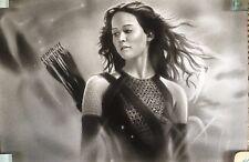 """Hunger Games Katniss Everdeen ART CHARCOAL DRAWING 8X12"""""""