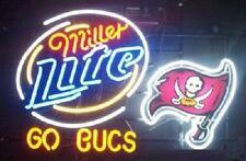 """New Miller Lite Tampa Bay Buccaneers Go Buc Beer Bar Pub Neon Light Sign 24""""x20"""""""