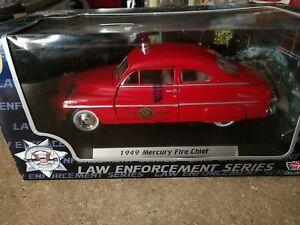1:24 1949 Mercury Fire Chief Police Red Diecast Car Replica Model Motormax