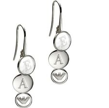 Emporio Armani EG2894 Sterling Silver & Mother Of Pearl Logo Earrings BNWT $175