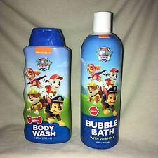 Lot Nickelodeon Paw Patrol 12 Oz Body Wash & 16 Oz Bubble Bath Berry Scent New