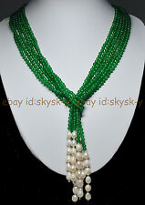 "AAA 50"" Beautiful 3 Strands Natural 4mm Green Emerald Freshwater Pearl Necklaces"