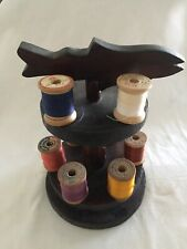 Great Late 19th c. American Folk Art Sewing Tower/Spool Holder With Fish Finial