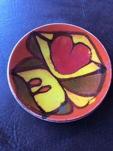 "Vtg Poole Pottery England Delphis Orange Abstract Plate Dish Trinket 5""  MCM 49"