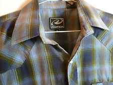 ROPER LONG SLEEVED WESTERN STYLE BLUE PLAID SHIRT-PEARL SNAPS-POCKETS-SUPERB CND