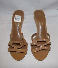 "Elie Tahari ""Blake"" Golden Tan Leather Strappy High Heel Slide Sandals 38.5 NEW"