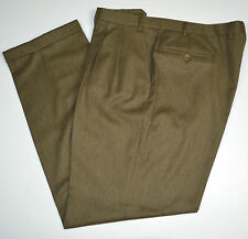 Mint CANALI 100% Wool Flannel Brown Pleated Cuffed Dress Pants Sz 42 x 34