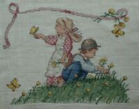 Boy and Girl Picking Flowers Butterflies Playing Cross Stitch Completed Finished
