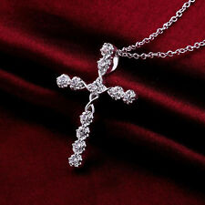 Crystal Cross Necklace 925 Sterling Silver Plate Pendant Jesus Chain Men Hot