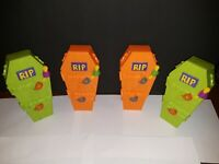 Set of 4 1996 VINTAGE HALLOWEEN COFFIN COIN BANKS RUSSELL STOVER CANDIES