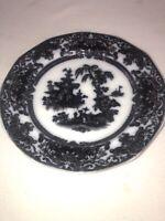 1850s Antique Podmore Walker & Co England Corean Transferwear Plate Flow Black