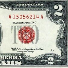 1963 $2 US Note *** Red Seal *** # A15056214A Appears Uncirculated