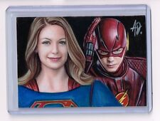 2017 ACEO Sketch Card SUPERGIRL and THE FLASH Original 1/1