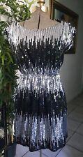 Forever Sparkle silver Black Sequin evening party cocktail Dress Size M