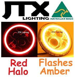 "7""LED Headlights RED Fiat Regato Croma Argenta Superbravo Flash AMBER on turning"