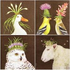 4x Tovaglioli di carta per Decoupage CRAFT ANIMALI & Crowns-MIX