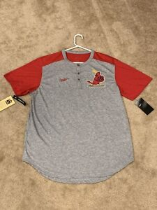 (L) St Louis Cardinals Cooperstown Collection Nike Dri-Fit Henley Tee NWT