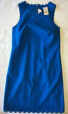 J Crew Dress 2 Laser Cut Floral Dress e9811 Cerulean Blue Gorgeous NWT Sheath