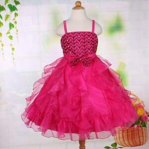 Girl Child Kid Party Formal Pageant Flower Birthday Wedding Dress PINK SIZE 5 7