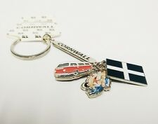 CORNWALL KEYRING KERNOW CORNISH FLAG SURFER CAMPER VAN 12CM LONG KEY CHAIN RING
