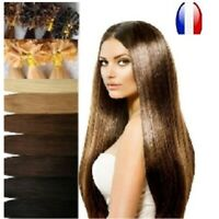 25 50 100 150 EXTENSIONS CHEVEUX POSE A CHAUD NATURELS REMY 49cm 0,5 G/1 G AAA