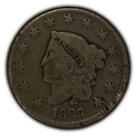 1827 1c Coronet Head Large Cent - Better Date - Chocolate Brown Coin SKU-Y2360