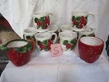 STRAWBERRY 8 Cups and Suger Bowl , Creamer Casa Vero Canister Ceramic