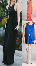 Boutique solid rayon spandex grey tank maxi dress w racer back & hidden pockets