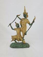 Thailand Bronzefigur Skulptur Tempeltänzer Wächter vergoldet 28 cm selten