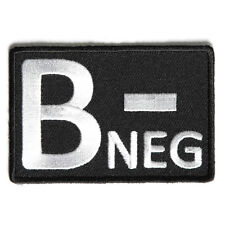 Embroidered B- Blood ID B Negative Blood Group Sew or Iron on Patch Biker Patch