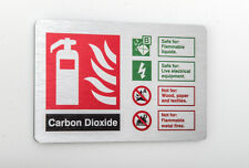 Carbon Dioxide Fire Extinguisher ID Sign 150mm X 100mm  Brushed Silver (BFI-13Y)