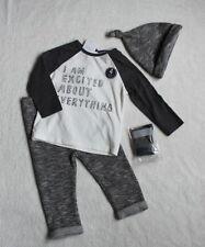 ***BNWT Next baby boy Slogan top, joggers, hat and socks set 0-1 month/newborn**