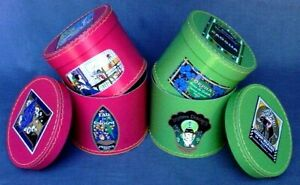 French Petit Jour Hat Box Set - Nesting Set of 2 Round Covered Boxes - Rose/Mint
