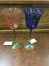 Nouveau Hand painted Stemware 2 Glasses