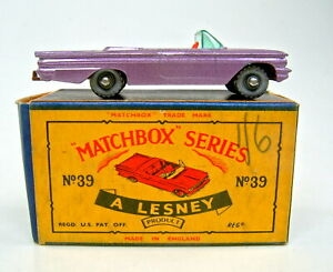 "Matchbox No.39B Pontiac Convertible met. lilac SPW mint in correct ""C"" box"