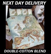PARIS LONDON ROME EUROPE DOUBLE  DOONA DUVET QUILT BEDDING COVER SET,WORLD MAP