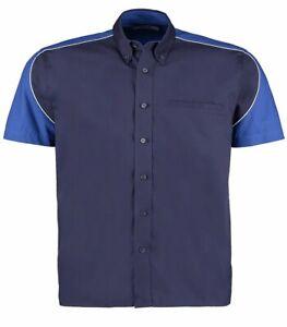 Formula Racing Navy/Royal Blue/White Cotton Short Sleeve Shirt Size Large New