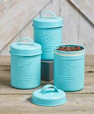 Set Of 3 Metal Canisters Kitchen Embossed Tea Sugar Coffee Beach Coastal Blue