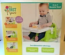 The First Years 3-in-1 Booster Seat, Green Floor Seat Dishwasher Safe to clean