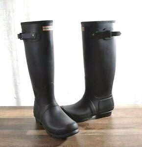 Hunter Women's Black Matte Rubber Rain Boots Original Tall 9 B MED WFT1000RMA