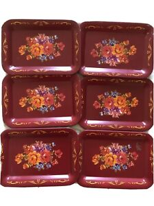 Vintage Set of 6 Matching Small Burgundy Tole Tin Painted Trays Floral Roses