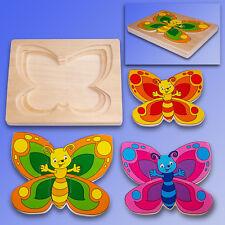 Holz Puzzle 3 Schmetterlinge, Schichtenpuzzle 12 Teile + Rahmen, Setzpuzzle