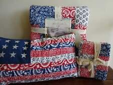 Artisan de Luxe AMERICAN FLAG Red White Blue PATRIOTIC Full QUEEN QUILT SET 4PC