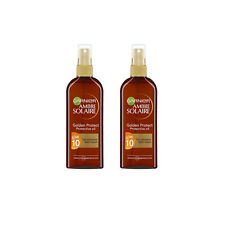 2 x Garnier Ambre Solaire Golden Protective Sun Tan Oil Spray 150ml SPF10